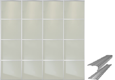Contemporary Soft White Glass (4 Panel) Doors & Track Set to fit an opening width of 3607mm